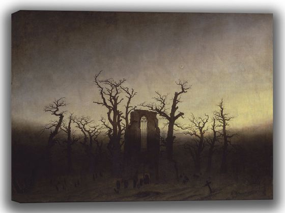 Friedrich, Caspar David: Abbey Among the Oak Trees (Abtei im Eichwald). Fine Art Canvas. Sizes: A4/A3/A2/A1 (003908)